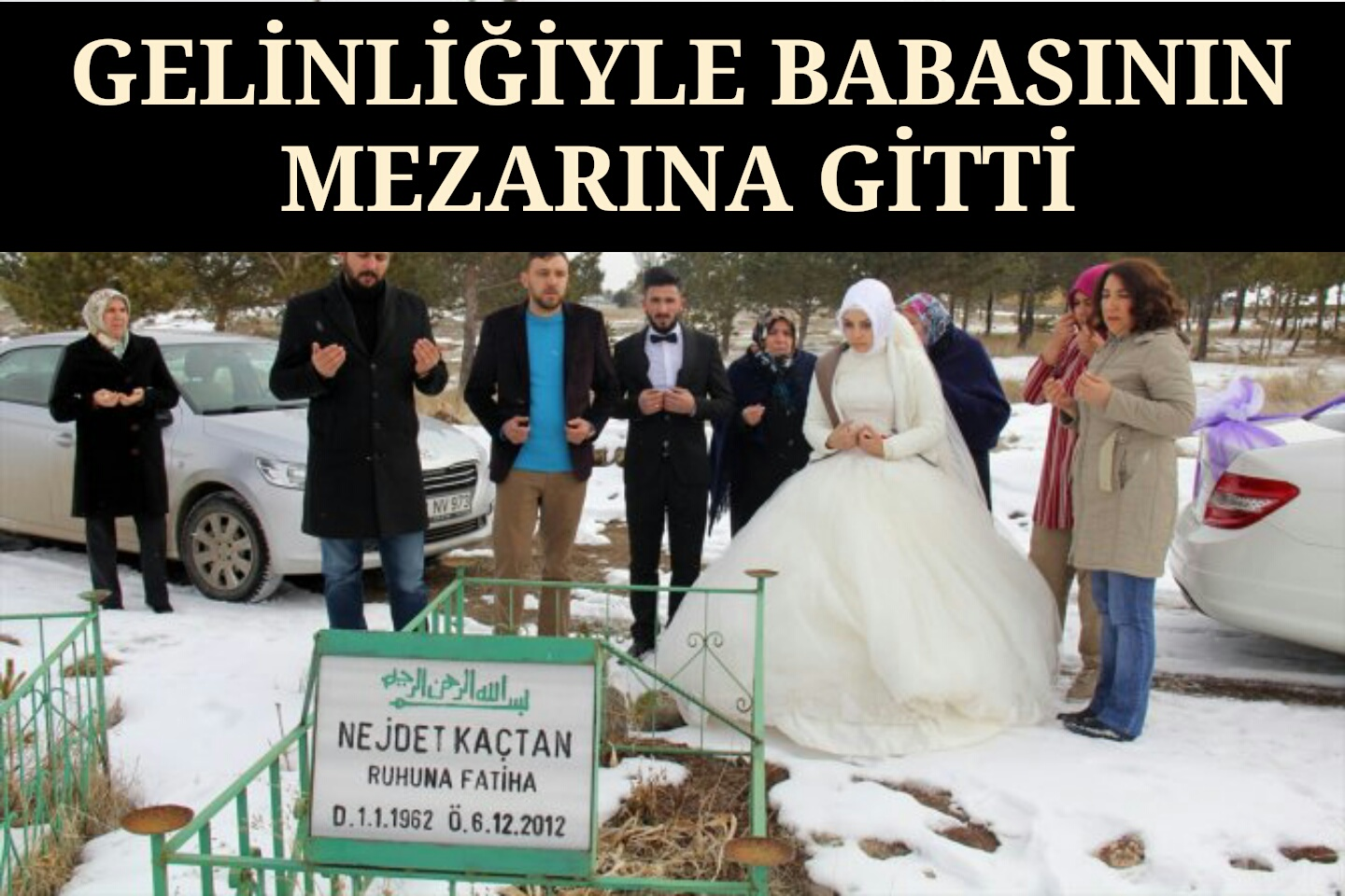 Gelinliğiyle Babasının Mezarına Gitti